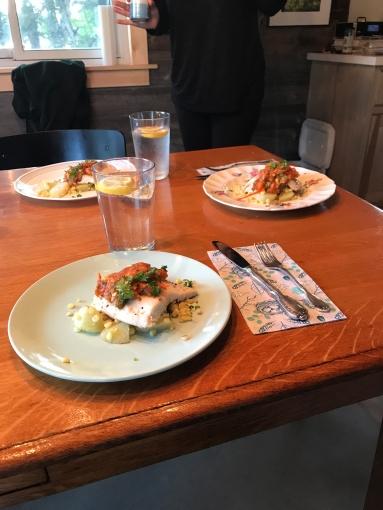 Retreat supper. Whitefish with kohlrabi and corn.